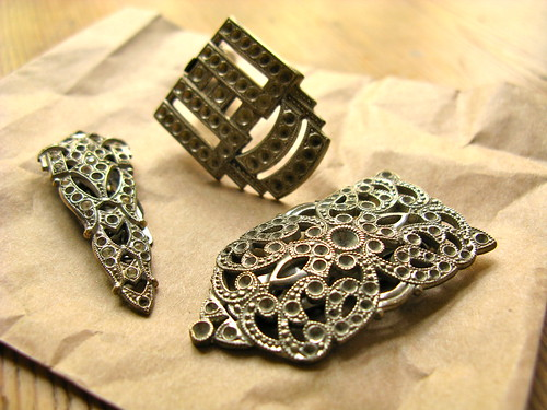 Art Deco dress clips