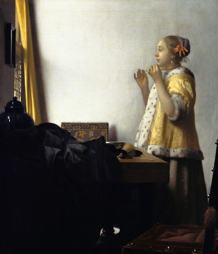 Jan Vermeer - Young Woman with a Pearl Necklace [c.1662] by Gandalf's Gallery