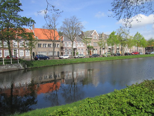 Springtime colors on Herengracht canal, Middelburg