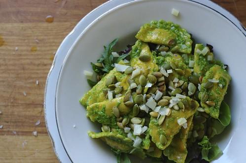 Ravioli Salad with Cilantro Pesto and Pumpkin Seeds