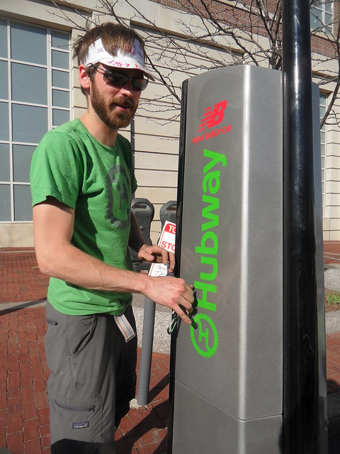 Galen Mook flips on the switch to Hubway station