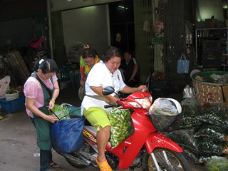 Produce shopper heading home