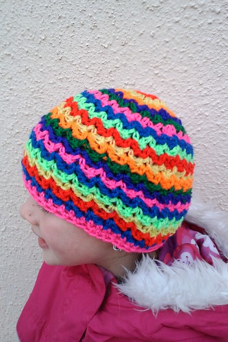 Rainbow ziggy crochet hat
