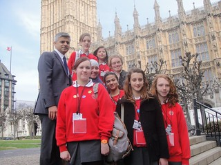 Sadiq with Burntwood School students in Parliament