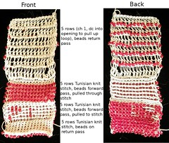 Beaded Tunisian crochet sampler