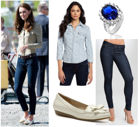 Kate Middleton casual look for less - button down shirt