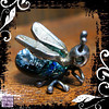 Pendant Silver Dichroic Glass Bug Peridot Eyes 01
