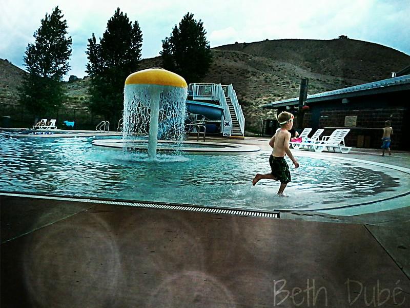 Addison running in pool wm