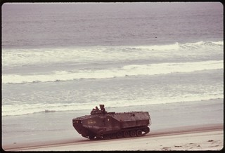 Marine vehicle on maneuvers along the ocean at the Camp Pendelton base, May 1975