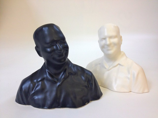 Satin Black and Satin White 3D Printed Ceramic Cory Doctorow at Shapeways
