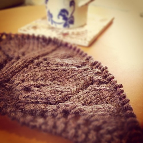 Downtime. New shawl and tea.