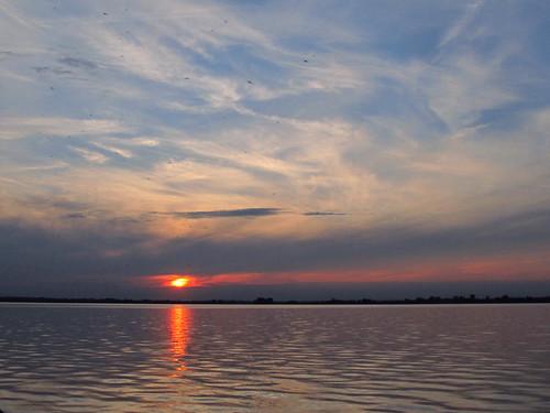 blue sunset red sky orange reflection water june sundown 2012 project365