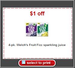 Welch's fruit fizz target coupon