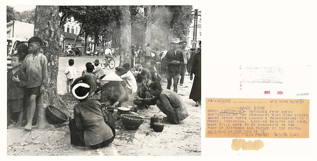 1954 Refugees Crowd Street in Hanoi, Indochina - Press Photo