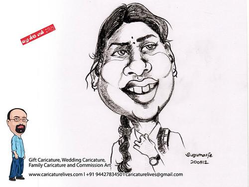 Actress-1, Valakku en, movie, caricature, illustration, commission art, Caricaturist Sugumarje, caricaturelives, wedding caricature, gift Caricature, chennai, india, Artis, Tamil