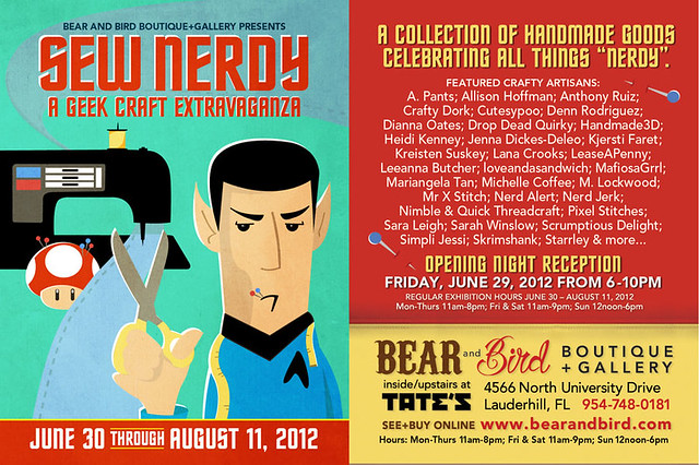 Flyer for Sew Nerdy : June 29 – August 11, 2012