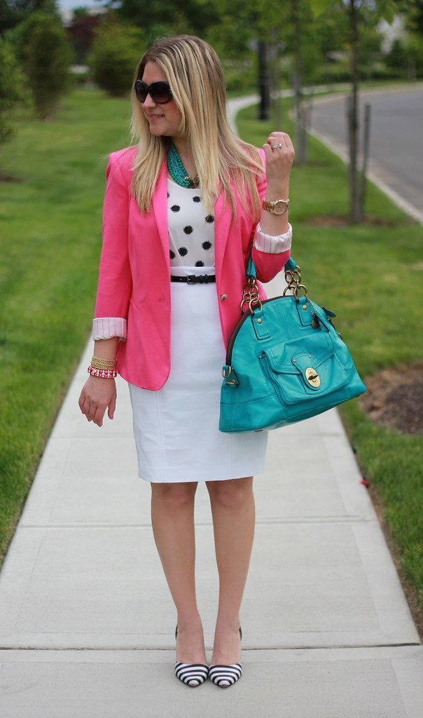 Colorful pink, white, and turquoise work outfit