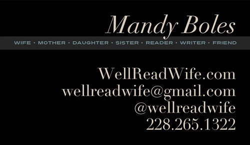 WellReadWife.com's business card, back
