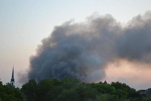 morning sunrise fire smoke