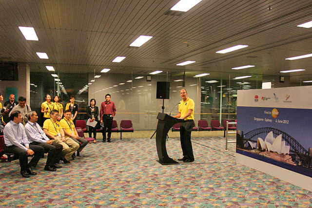 Scoot CEO Campbell Wilson giving a short speech at the departure gate