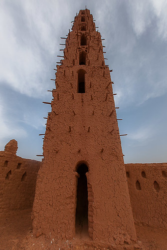 the great mud mosque in the bani in northern Burkina Faso, Sahel by anthony pappone photographer