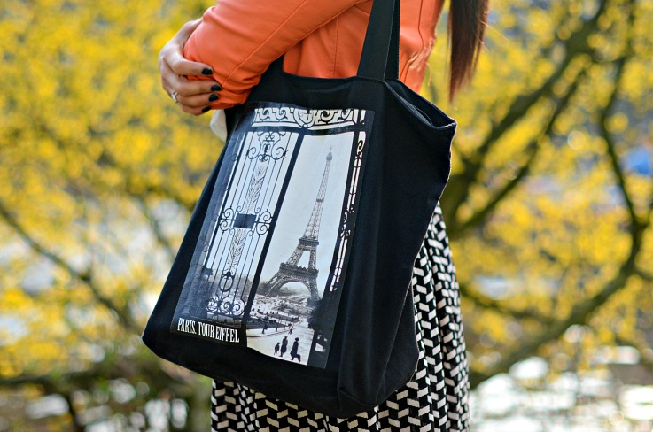 DSC_7477 black Eiffel tower tote bag, orange leather jacket