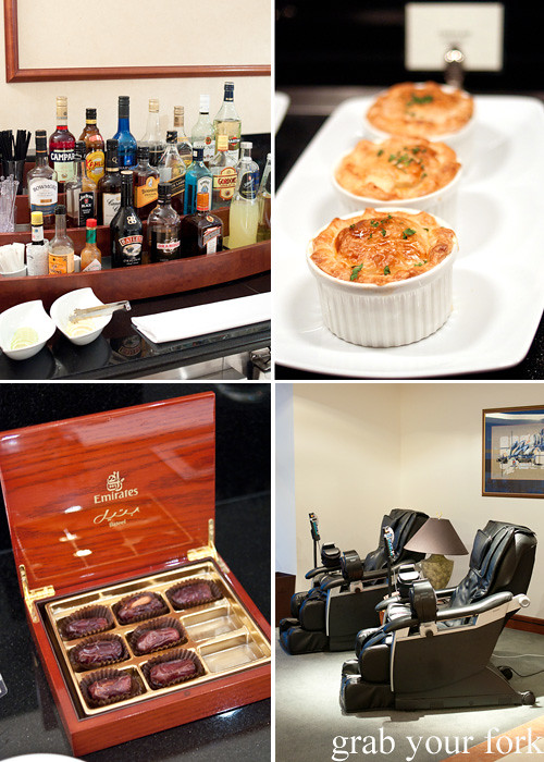 Emirates Business Class lounge bar, chicken pies, massage chairs and Bateel almond-stuffed dates at Sydney International Airport