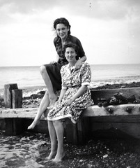 Ladies on the beach 40s