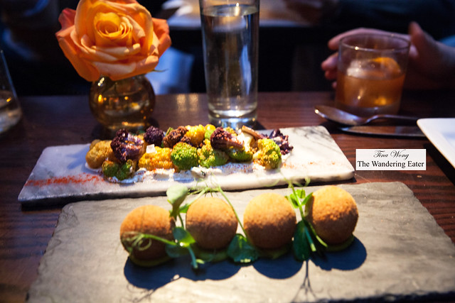 Some of our tapas - Colorful cauliflower with yogurt and pimenton and Lamb croquetas
