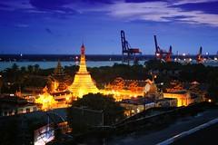 The Botatuang Pagoda in Yangon by night