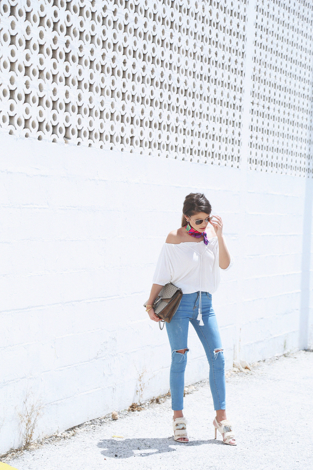 jessie chanes seams for a desire white off shoulder top high waisted jeans gucci bag uterque-12