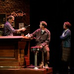 Parked at his favorite spot in his favorite Allston pub Brendan (Dashiell Eaves) gets a lecture on friendship and loyalty from bartender Josh (Tommy Schrider) as his mother (Nancy E. Carroll) looks on in the Huntington Theatre Company's production of the new play by Ronan Noone performed at the Calderwood Pavilion. Part of the 2007-2008 Season. Photo: T Charles Erickson