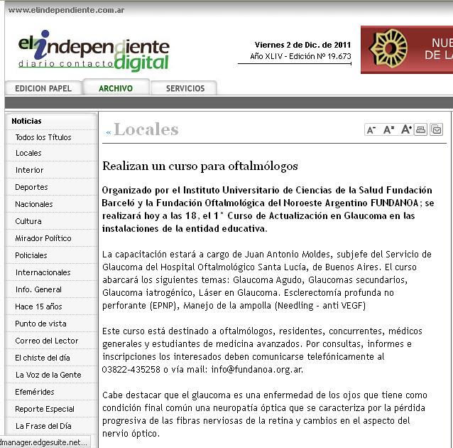 El independiente digital - curso de oftalmología - 02.12.11
