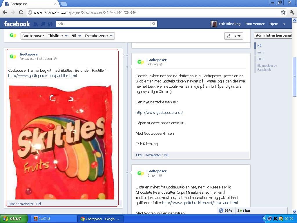 godteposer har begynt med skittles facebook