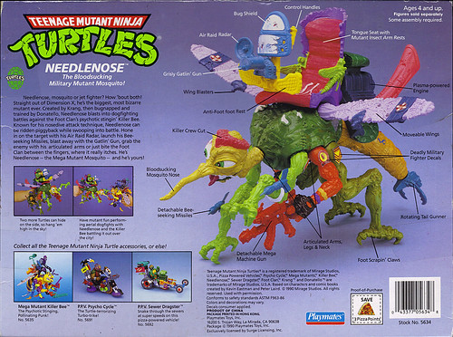 """MEGA MUTANTS"" TEENAGE MUTANT NINJA TURTLES :: NEEDLENOSE ..box ii (( 1990 ))"