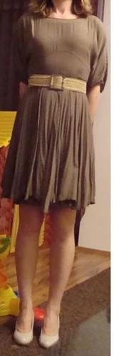 brown knee-length dress