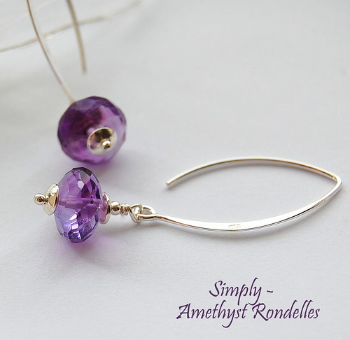 Amethyst Rondelle Earrings by gemwaithnia