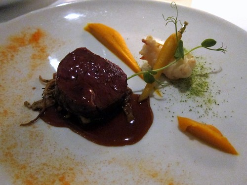 Angus pure beef fillet, fried scampi, Worcestershire spatzli, carrot puree, oxtail juice