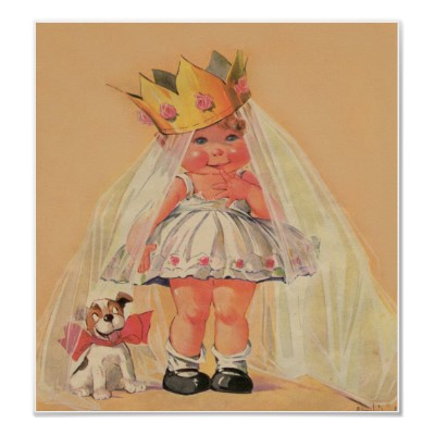 old-timey illustration of a chubby baby in a wedding dress