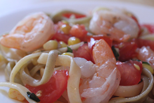 Close up Summer Shrimp Pasta
