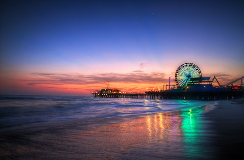 sunset beach sunrise la losangeles santamonica ferriswheel