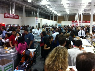 Costco customers packing in on Grand Opening day at Costco in Huntington Beach Bella Terra by Sunrise Dental Center