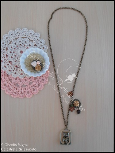 """Armario Escritorio Plegable ~ Colar e anel""""My Vintage Owl"""" GataPreta Artesanato"""