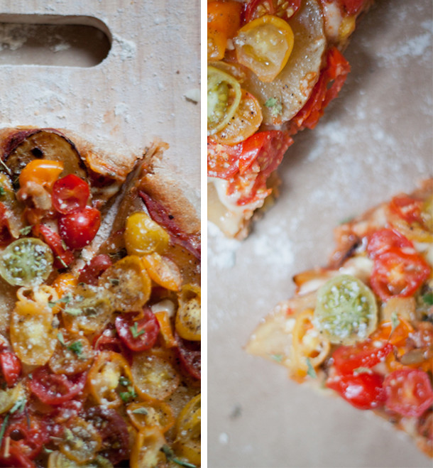 Easy Tomato with sliced potato pizza recipe