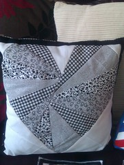 Black and white heart cushion