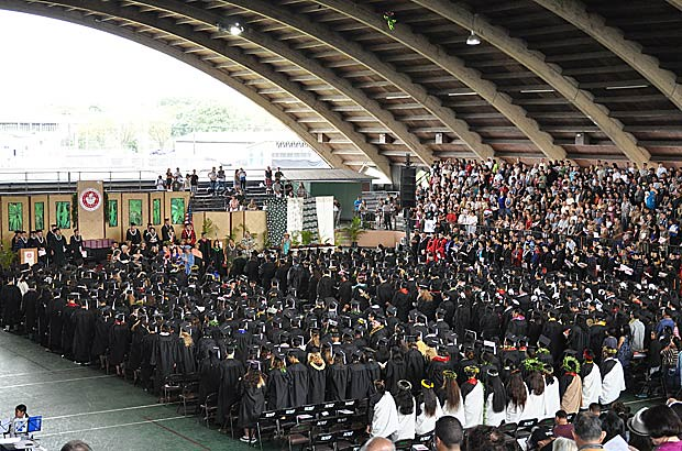 <p>A birds-eye view of UH Hilo's graduating class of 2012 as they participate in their spring 2012 commencement ceremony on May 12</p>