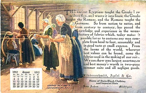 August Holidays: Lindenschmitt, Apfel & Co., Ann Arbor, Michigan: advertising calendar postcard, August, 1912.