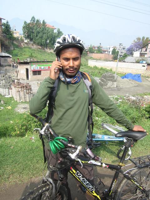 Nepali cyclist in Kathmandu