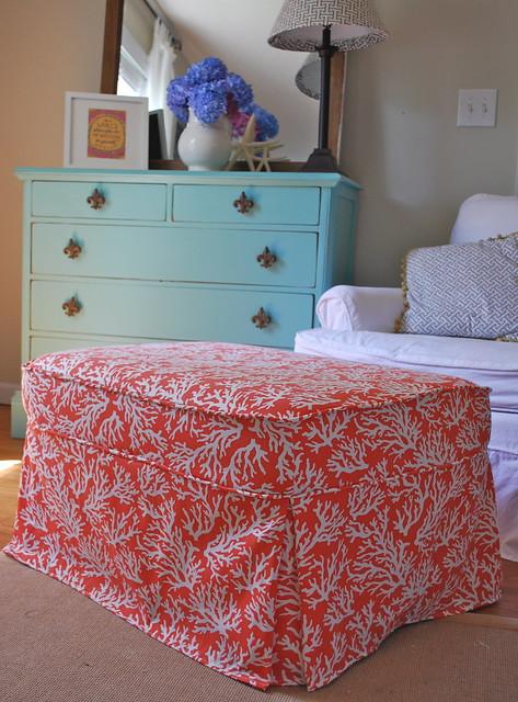 coral ottoman slipcover