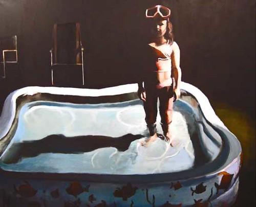 "Stephen Coyle, Night Swim, alkyd on linen, 58"" x 72"""